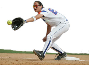 Fastpitch Softball Free Article on First Base Footwork - getting the out when the throw is off the mark and the umpire does not have a clear view