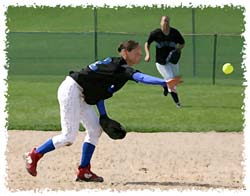 Fastpitch Softball Free Article on Fielding - tips for the backhand toss